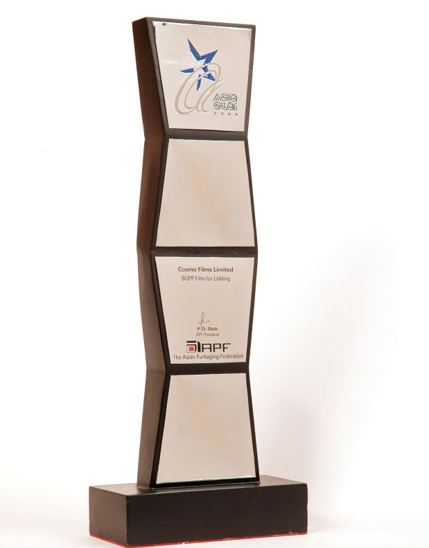 Asiastar in 2000 awarded by Asia Packaging Federation for lidding films