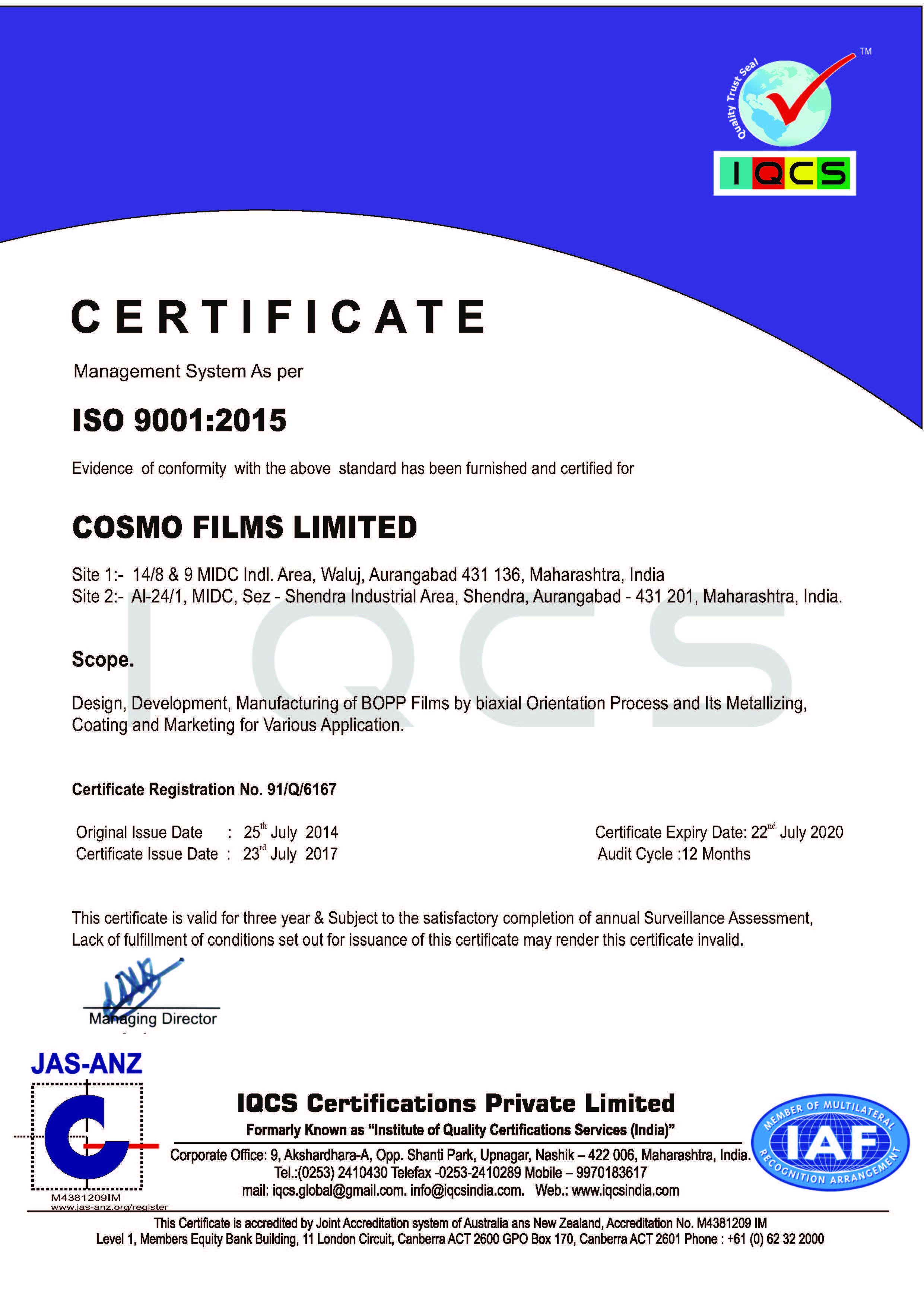 ISO 9001: 2015 : Registration Certificate