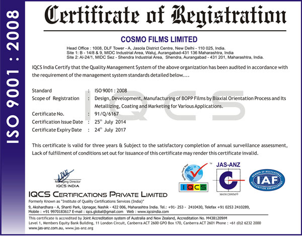 ISO 9001: 2008 : Registration Certificate
